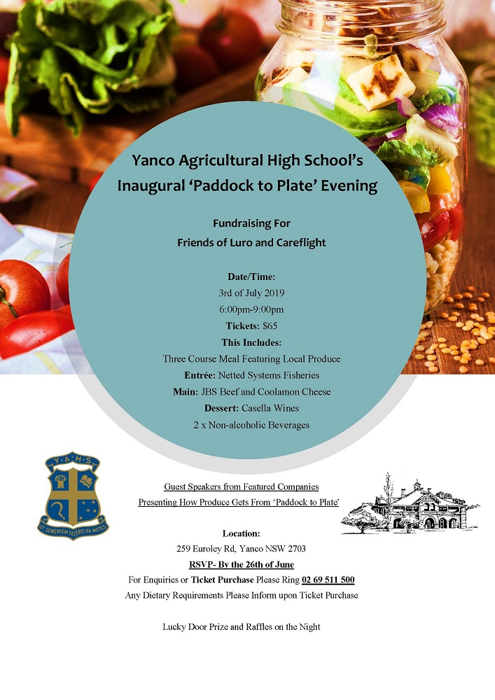 Yanco Agricultural High School's Inaugural Paddock To Plate Evening
