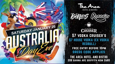 Australia Day Eve @ The Area Hotel