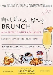 Mothers Day Brunch - Exies Bagtown Courtyard