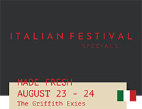 Italian Specials at Griffith Exies Club